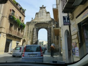 Trying to merge to get through the town gate at Sciacca. (pronounced Shaka)