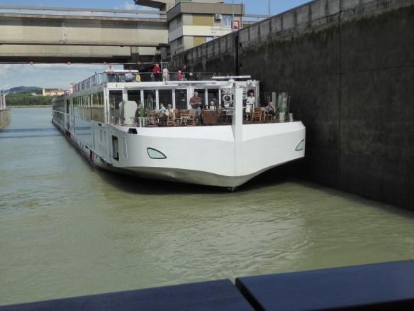 Sister ship Njord entering lock behind us