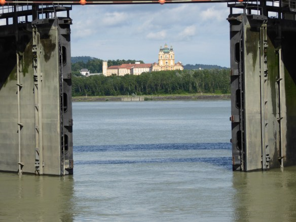 Last view of Melk Abbey as the lock closes