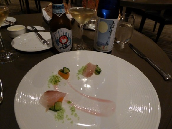 Second course - Japanese shima-aji with melon, cucumber and Thai vinaigrette served with a La Toque sake bomb. The dish also has a tasty green powder made of mint, basil, and cilantro. The sake bomb is a mixture of Japanese white beer and Midnight moon sake. (I am not a sake fan.) The dish is very enjoyable.