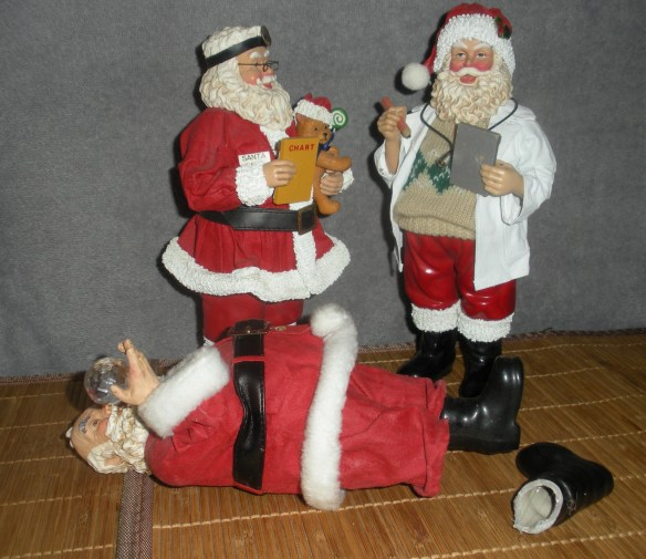 """THE DAILY CLAUS """"Dr. Santa, do you think we can save him?"""" """"Hand me my glue gun, stat!"""""""
