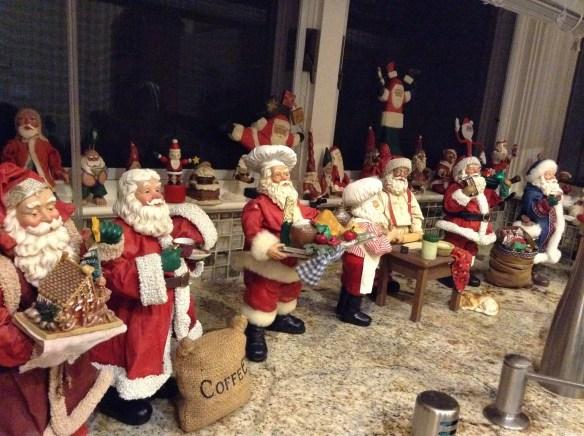 Kitchen Santas include, coffee and tea Santas, gingerbread house Santa, turkey platter Santa, rolling pin Santa, chocolate Santa, Italian  bread Santa and more.