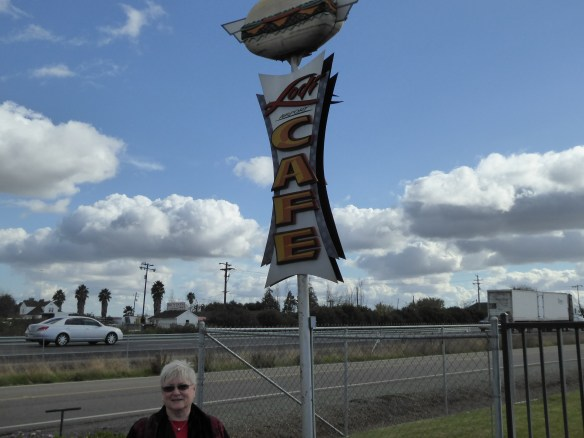 Mary in front of the Lodi Airport Cafe.