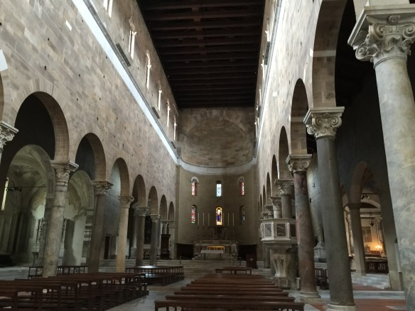 The stark interior of San Frediano - it once had frescoes covering the walls as can be seen by a few remaining pieces