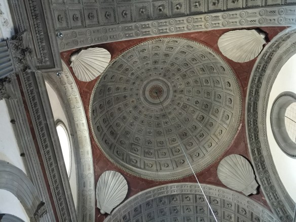 Unusual more modern ceiling with a shell motif usually an attribute of St. James
