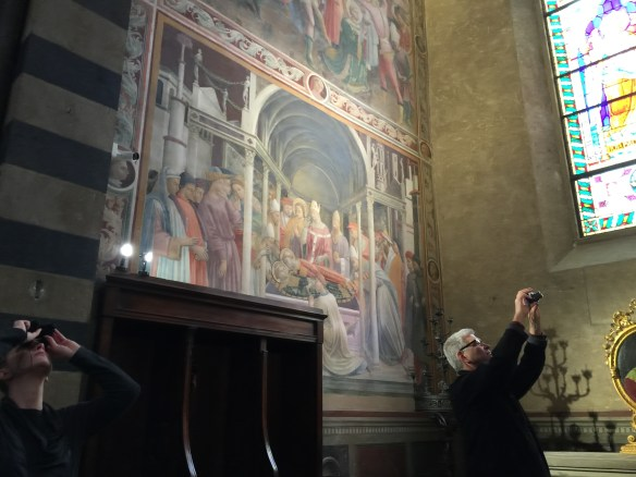 John taking a picture of the Lippi frescoes