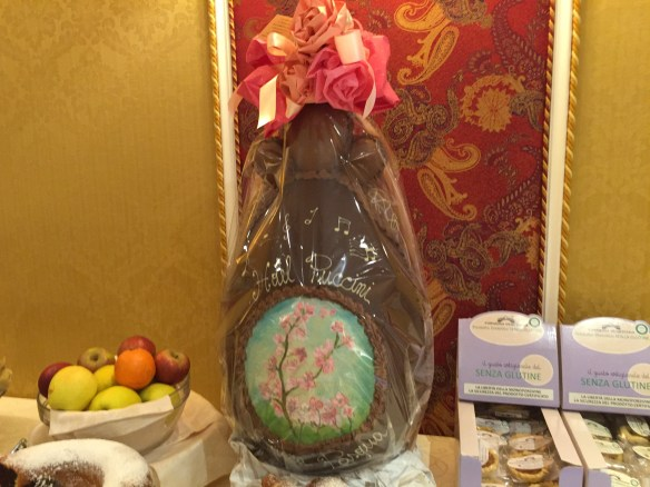The giant chocolate Easter egg at the Hotel Puccini in Montecatini.
