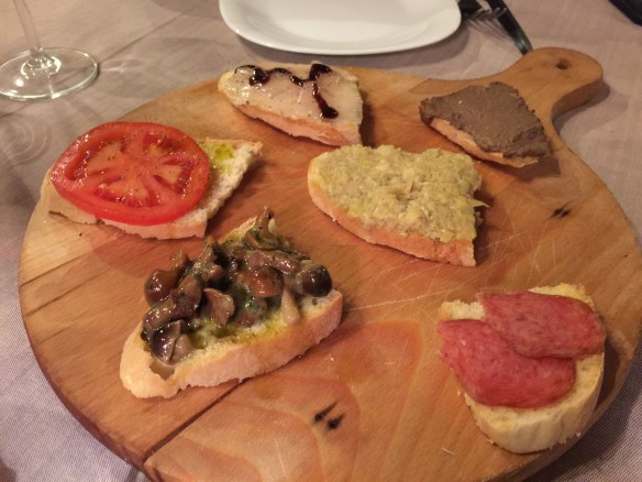 We start with a mixed plate of bruschette