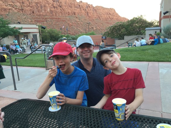 Nathan and Sam enjoy frozen lemonade with Daddy