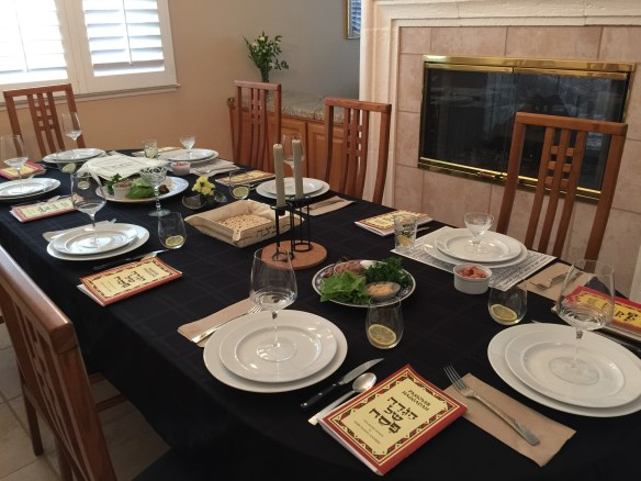 The table is set and we are ready to start our Seder