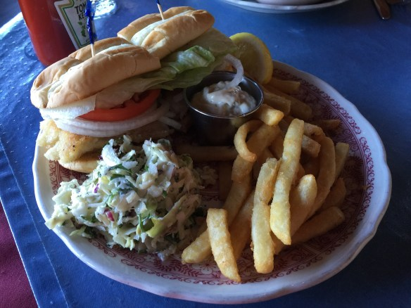 Rockfish sandwich with coleslaw and fries