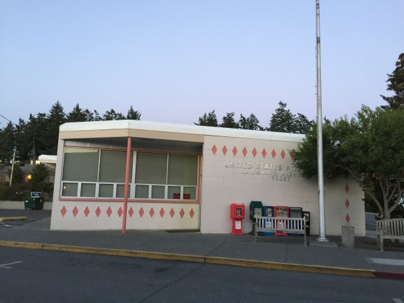 The U.S. Post Office breaks up the harmony of the buildings in downtown La Conner