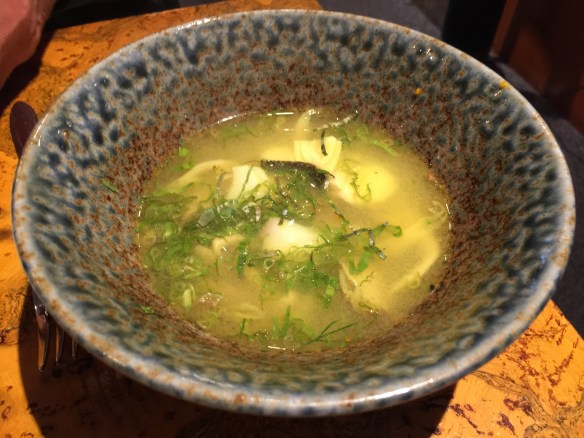 Sablefish with oyster mushrooms in a lemongrass broth with dill, kaffir lime and fresh tumeric