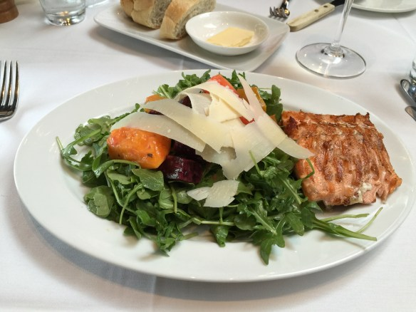Delicious salmon and salad at Seasons in the Park