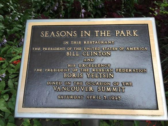 Plaque commemorating the meeting between Presidents Clinton and Yeltsin
