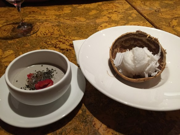 Black sesame panna cotta with raspberry and sesame brittle and fresh coconut sorbet