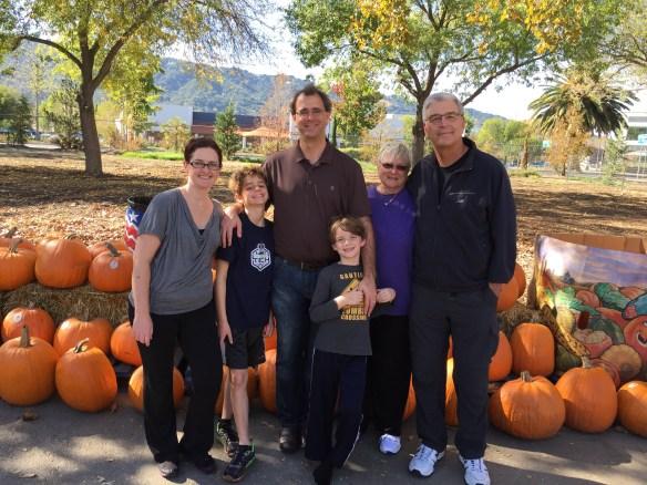 Ryan, Nathan, Jon, Sam, Mary, and John at the Pumpkin Patch