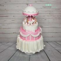 Torta battesimo giostra rosa