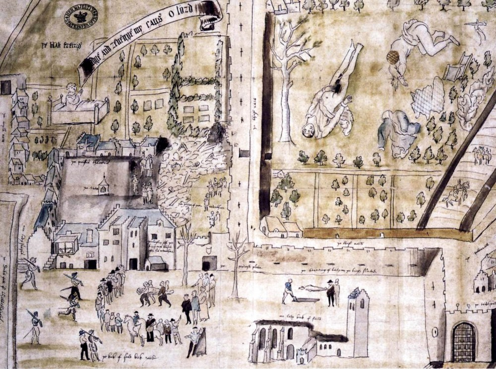 1567 drawing of Kirk o' Field after the murder of Henry Stuart, Lord Darnley, drawn for William Cecil shortly after the murder. Darnley's body can be seen lying in the field.