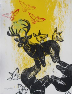 "Autumn / Big Buck // linocut and silkscreen // 14"" x 11"""
