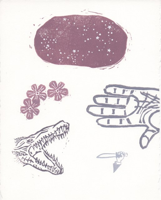 """Don't Bite the Hand // linocut print with pen and ink // 10"""" x 8"""""""