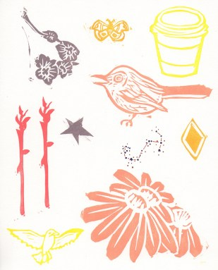 """Good Morning // linocut print with pen and ink // 10"""" x 8"""""""