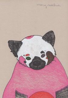 "Red Panda // 7"" x 5"""