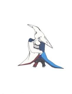"Blue Pterodactyl // 10"" x 8"""