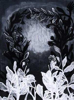 """Deep Flora // acrylic on canvas // 12"""" x 9"""""""