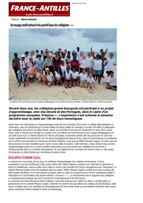 Un voyage multiculturel très positif pour les collégiens - Journal France-Antilles - toute l'actualité de votre région en Guadeloupe - FranceAntilles.fr