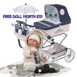 Pram with Play Doll Boy Mary Shortle