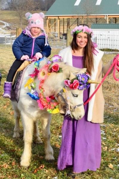 unicorn with princess and girl