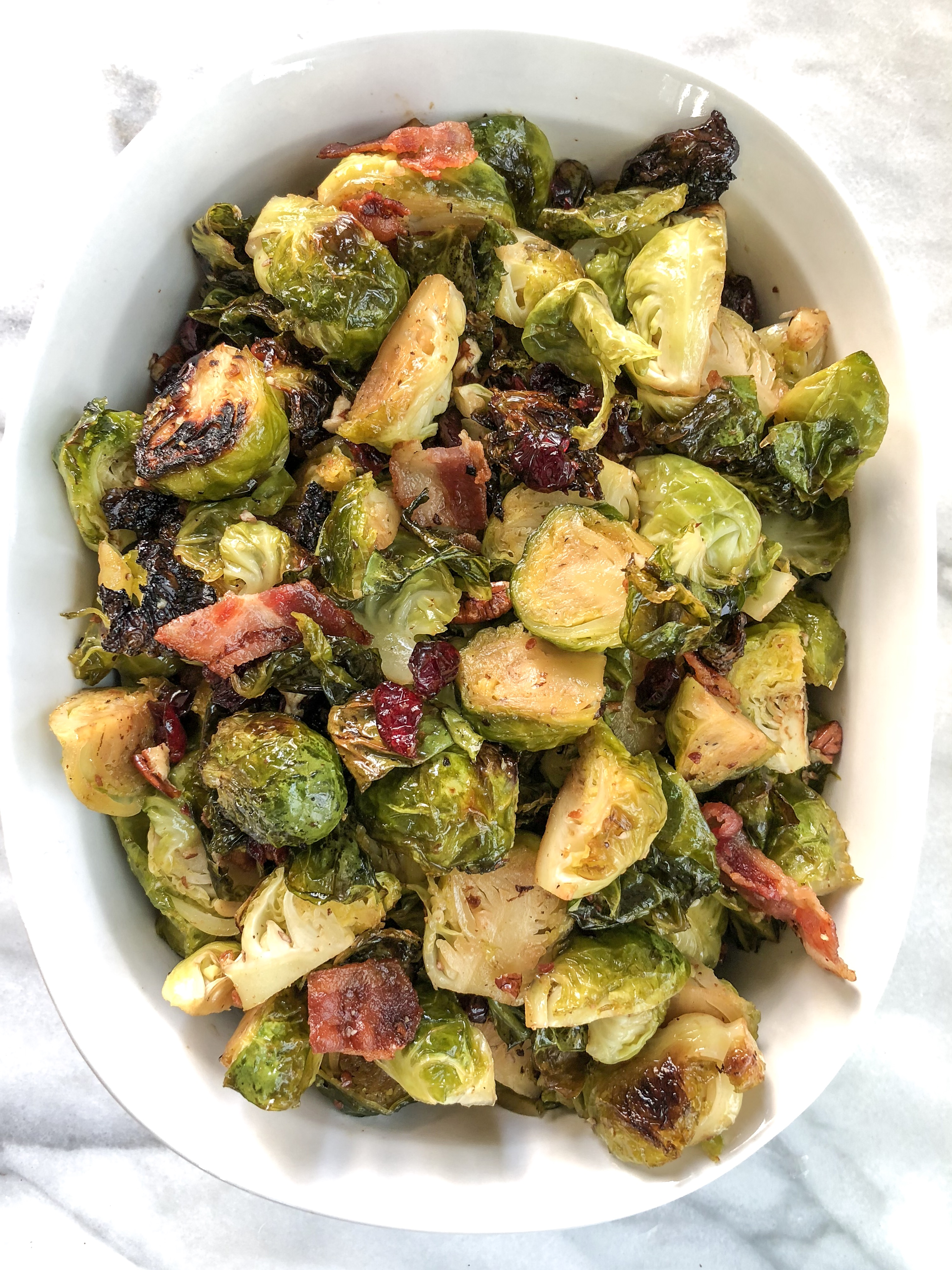 Bacon Maple Brussels Sprouts with Cranberries & Pecans