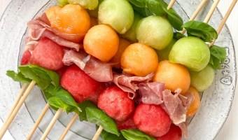Melon Basil Prosciutto Skewers