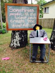 KEN07 Scarecrow Name: School Crow Owner: Kenilworth SCC (Chappy Tressa) 3717 Maleny-Kenilworth Rd Kenilworth 4574 Registration Centre: Kenilworth Category: Artistic
