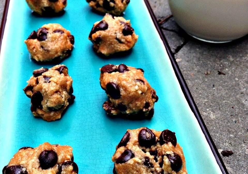 Chocolate Chip Cookie Dough Bites (Raw, Paleo, Vegan)