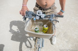 Bike basket with chilled drinks