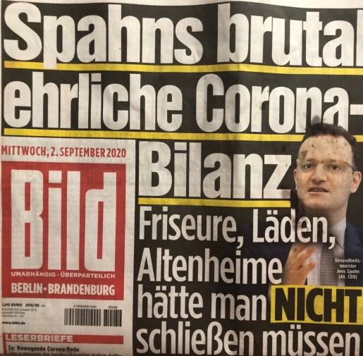 Bild Zeitung, Spahn Corona Bilanz