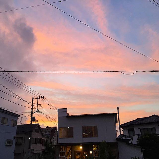 夏至の日没。 空はピンク色。