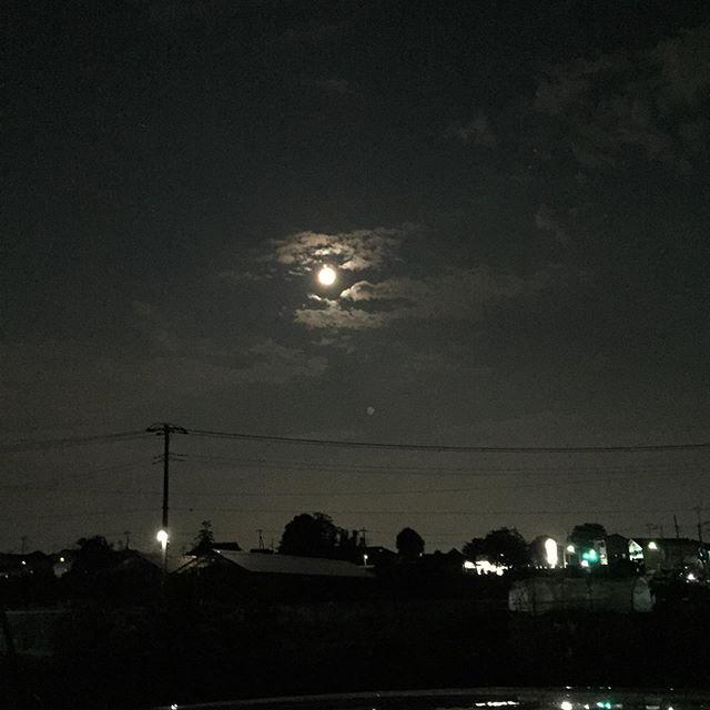 仕事終わり、久し振りの月夜 。
