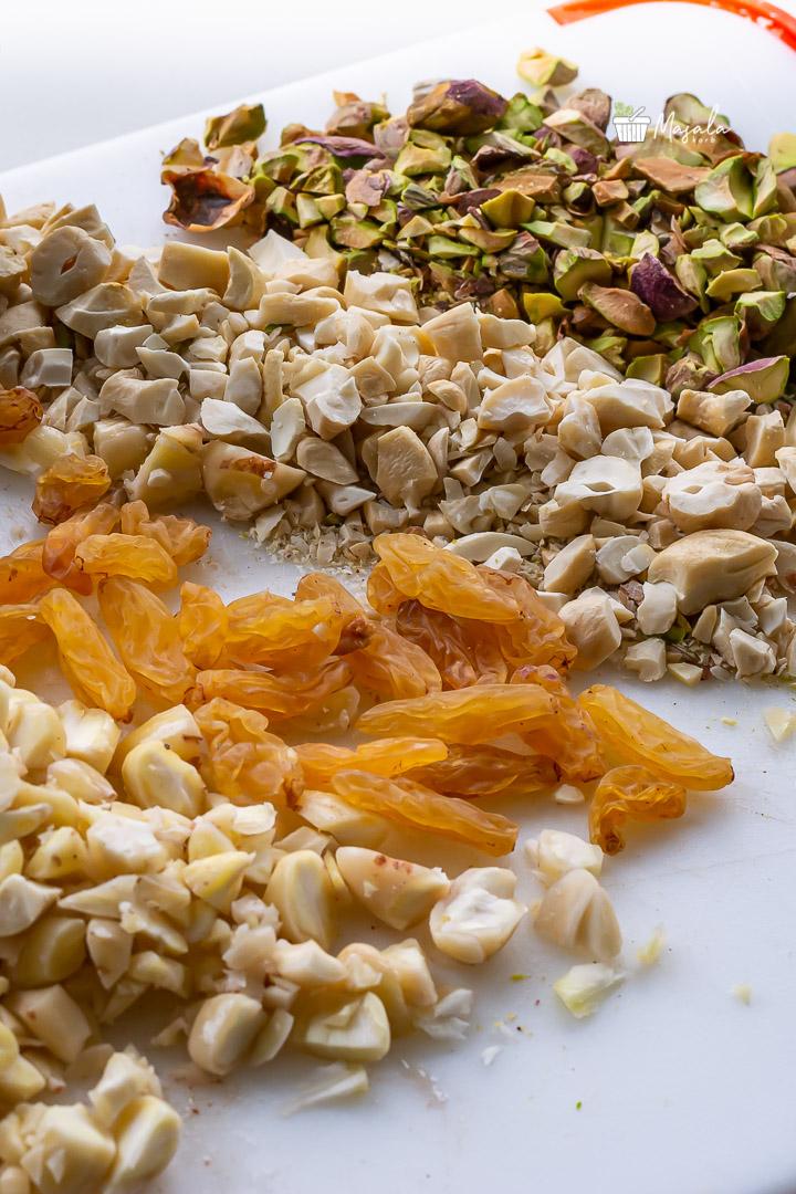 Chopped Nuts mixture for Bread Rasmalai recipe