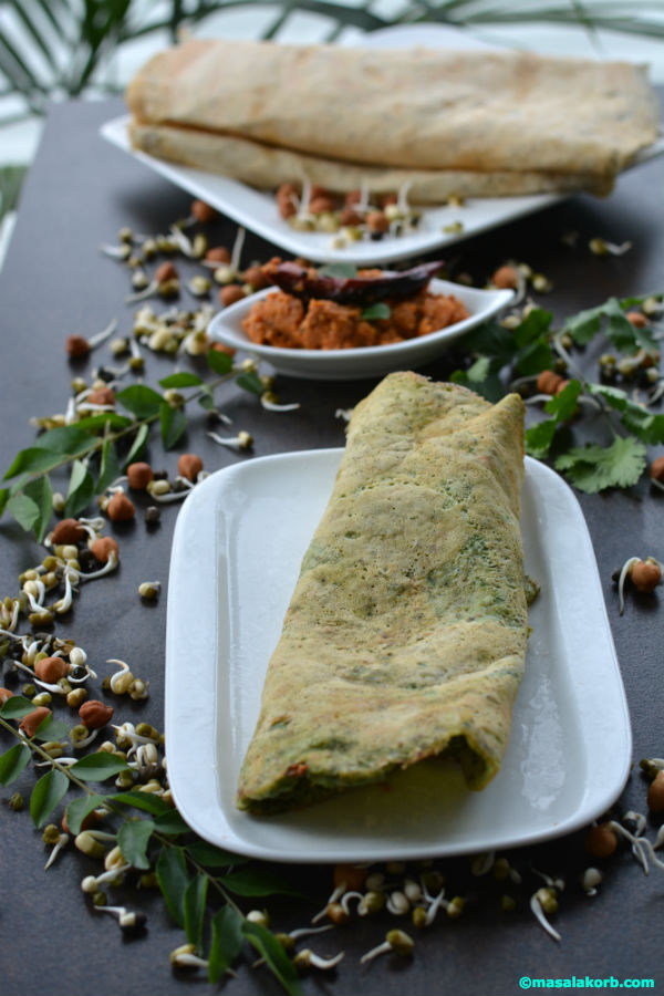 Mixed sprouts dosa using idly dosa batter V3