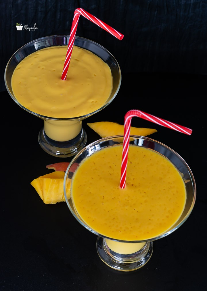 Top angle view of mango lassi drink recipe