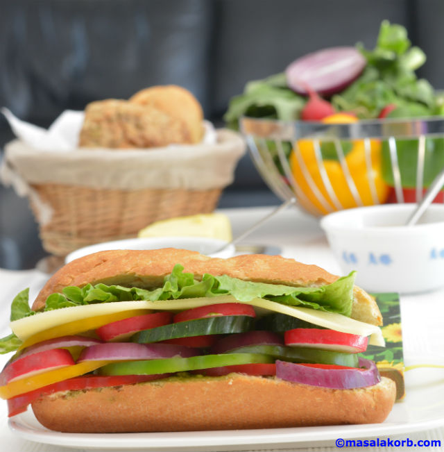 Summer Vegetable Cheese Baguette Sandwich V3