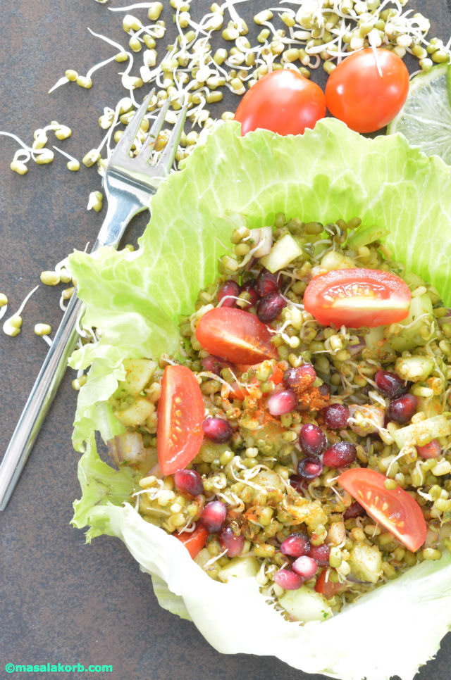 Sprouted moong bean chaat