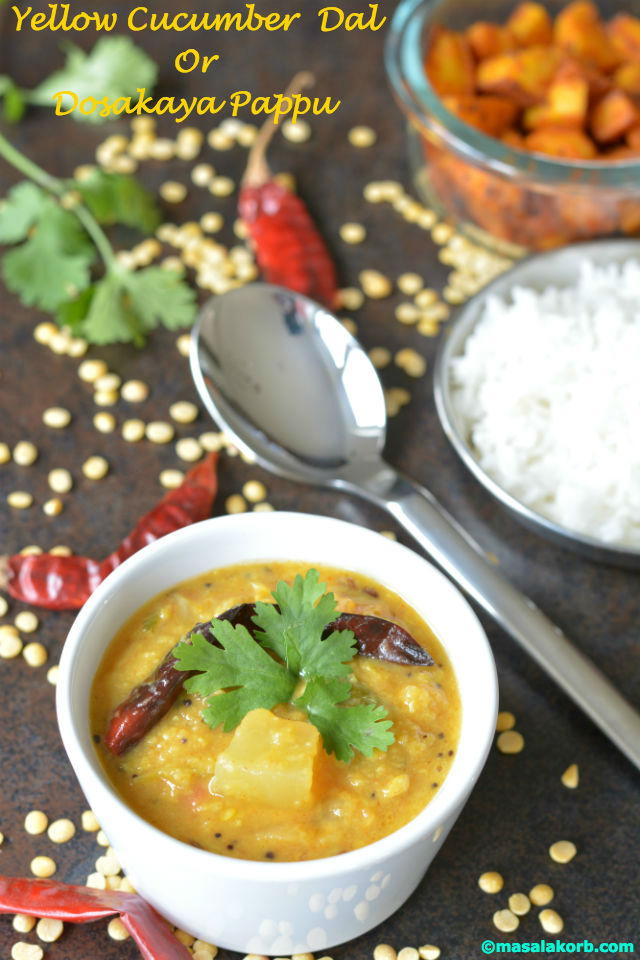 Yellow cucumber dal or Dosakaya PappuV1