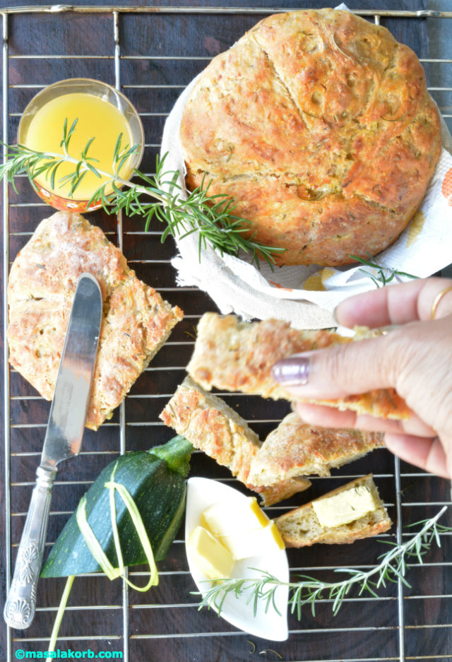 Rustic Rosemary Garlic Infused Zucchini Bread V8 Rustic Rosemary Garlic Zucchini Bread