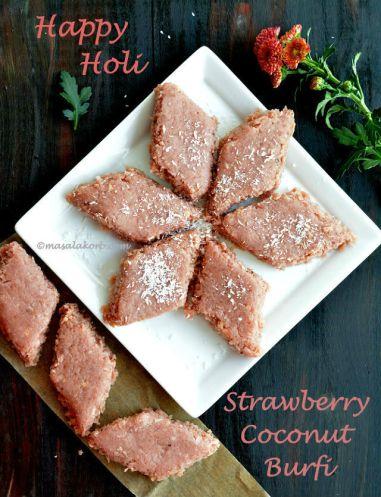 Strawberry Coconut Burfi