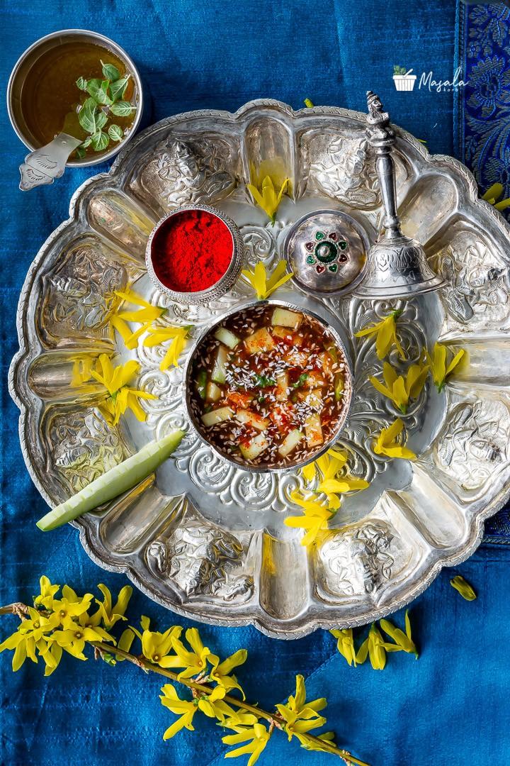Complete puja thali with ugadi pachadi