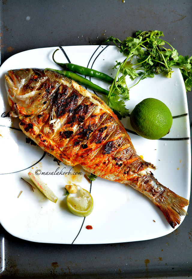 Grilled fish indian recipe spicy grilled fish masala for Grilled white fish recipes